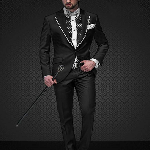 New Arrival Custom Made Groom Tuxedos Italian Men wedding party Dress Suits For Men 2017 Black Suit (Jacket+Pants)