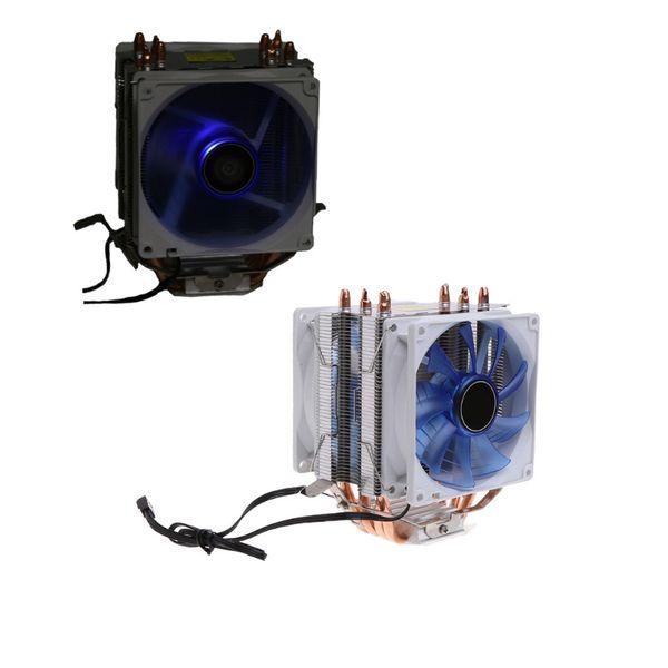 Cooler Fan 12V Dual CPU Cooler Blue LED 3Pin Fan Aluminum Heatsink For Intel LGA775 For AMD AM3