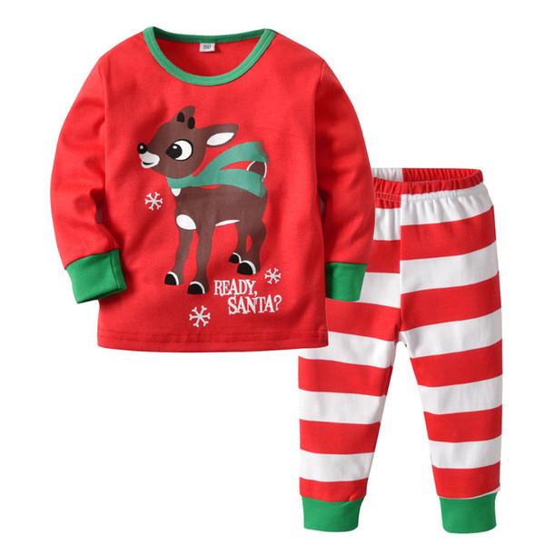 Boys Christmas Pajamas.2018 New Christmas Pajamas For Boys Elk Print Strip Boys Christmas Pajama Set Pyjamas Kids Pajamas Cotton For 2 4years Matching Pajamas For Kids
