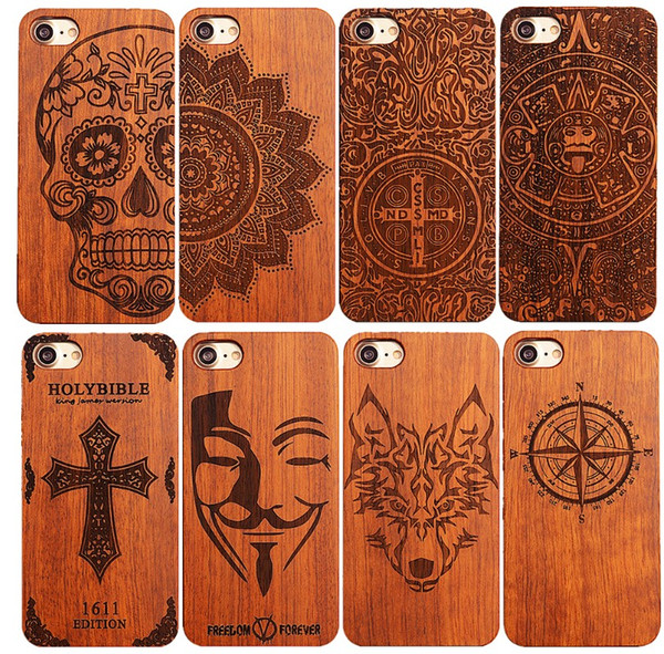 Retro PC+Wood Phone Case Engraving Design Novelty Vintage Phone Case for Iphone 6s 7 8 8plus XR Xs Max Samsung S8 S9 Note 9