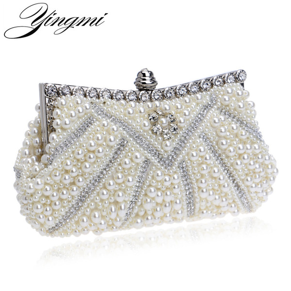 YINGMI New Design Women Evening Bags Handmade Beaded Diamonds Soft Shell Design Day Clutches For Wedding/Party/Dinner Purse Y18110101