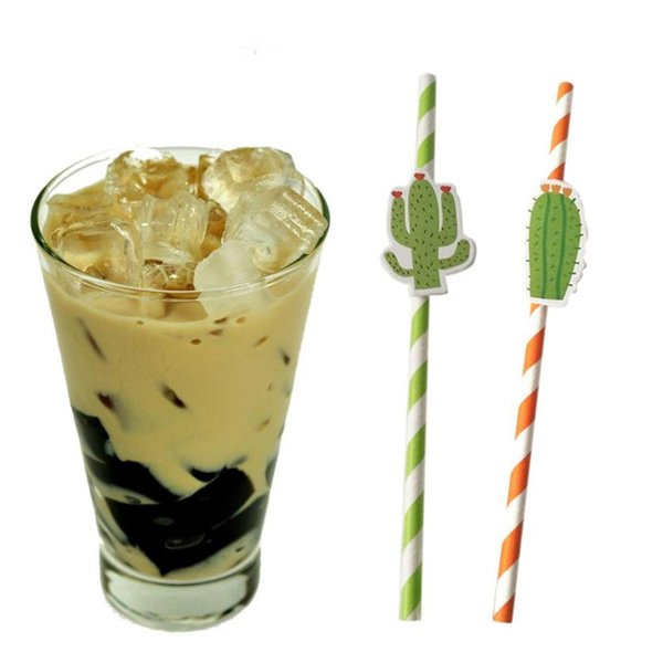 60PCS Stripe Print Tea Drink Paper Straws with Cactus Attach Decor Party Bar Cocktail Drinking Straws Disposable Birthday Party