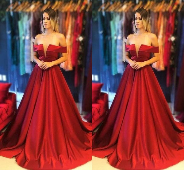 2019 Red A-line Prom Dress Off The Shoulder V-neck Draped Open Back Dresses Evening Wear Formal Dress Robes De Bal paolo sebastian Gowns