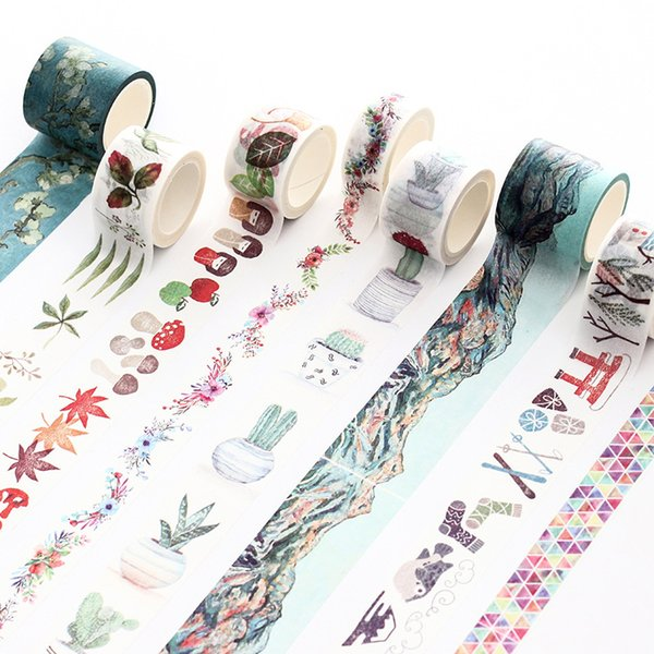 7m long Van Gogh/potted plant flowers/small objects/buildings Decorative Washi Tape DIY Scrapbooking Craft Masking Tape 2016