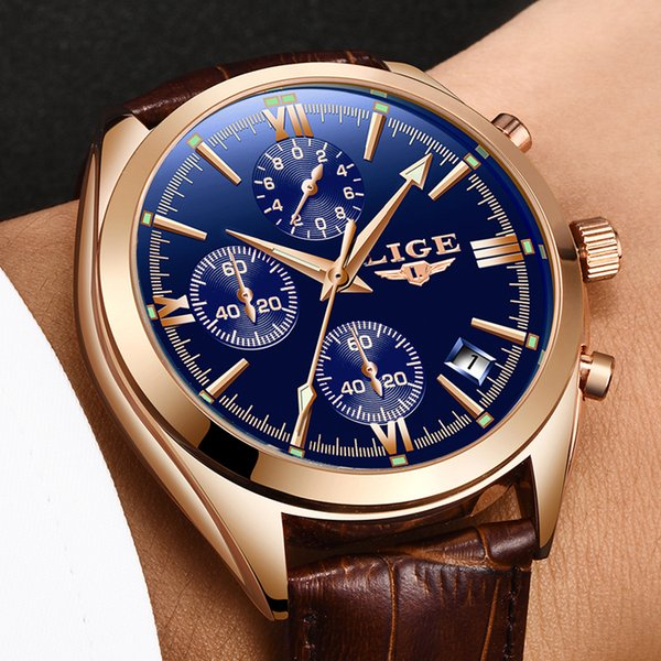 LIGE Mens Watches Top Fashion Business Quartz Watch Mens Sports Waterproof Leather Clock Relogio Masculino