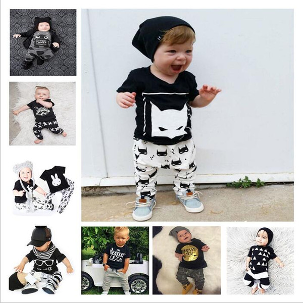 best selling Baby Clothes Boys Summer Animal Printed Outfits Girls Ins Cotton T Shirt Pants Suits Fashion Letter Floral Tops Leggings Kids Clothing B3839