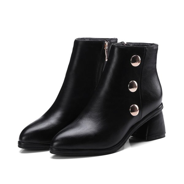 Favofans Hot Sale Womens Ladies Solid Color Square Toes Rivets Shoes Chunky Heel Zip Ankle Boots FF-B882 Size All