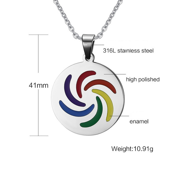 Mixed order Brand new fashion accessories unisex gay stainless steel necklace rainbow lesbian necklaces with chains Les faggotry jewelry 034
