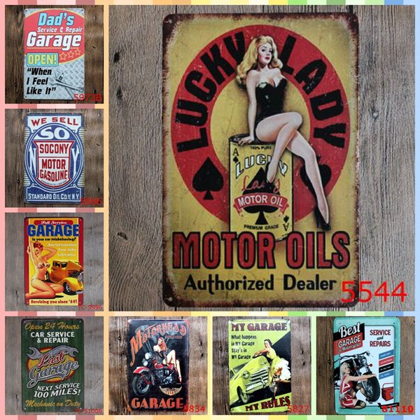 LUCKY LADY MOTOR OIL 20*30cm Metal Tin Signs Christmas Gifts Luxury Home Decor Posters Wall Art Arts and Crafts