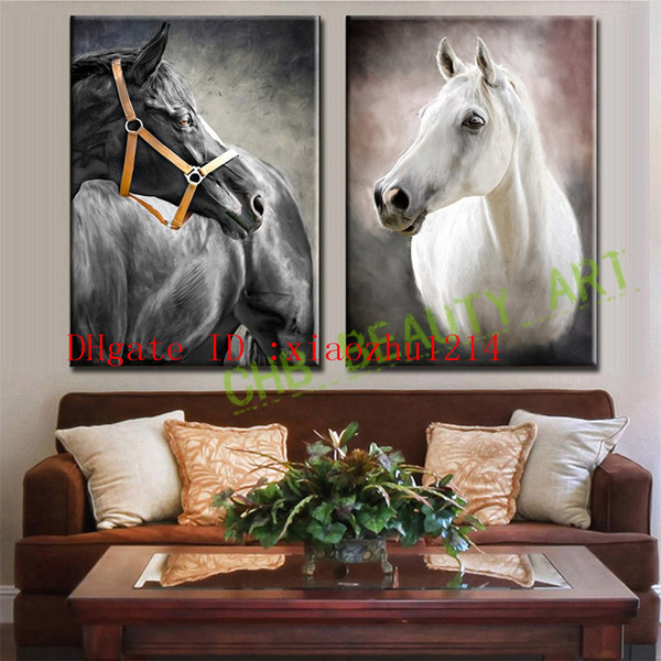 Black and White Horse -1,2 Pieces Home Decor HD Printed Modern Art Painting on Canvas (Unframed/Framed)