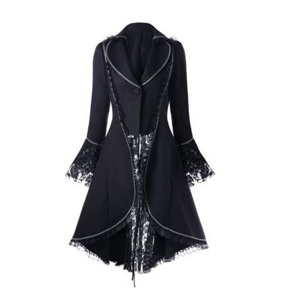 Moda para mujer Abrigos Gothic Steampunk Lace Trim Vendaje Trench Coat Holloween Cosplay Outwear Rojo Negro A4