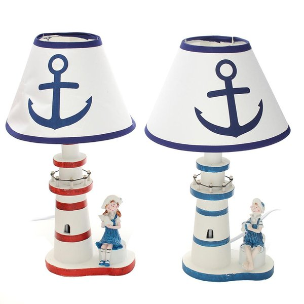 Nautical Lighthouse Desk Table Lamp Reading Light Bedside Decor Adjustable Study Light Anchor Cute Boy / Girl with EU Plug