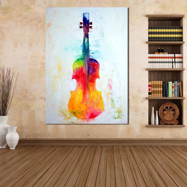 Satın Al Salon Modern Yok çerçevesi Resim Için Duvar Resimleri Boyama Tuval Sanat Ev Dekorasyonu Renkli Keman Boyama Yağı 2496 Dhgatecomda