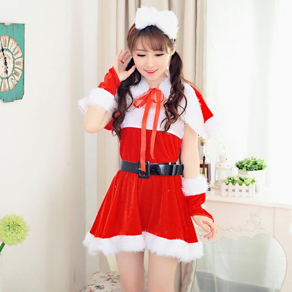 Red Günstige Christmas Festival Party Kleider Mit Wraps Cosplay Xmas Hüte Mäntel Sash Armbänder Winter Warme Frauen Mädchen Kleid Fräulein Claus
