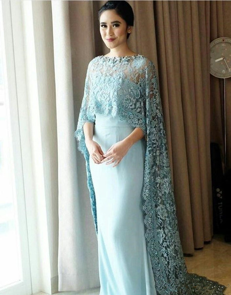 2018 Prom Dress New Fashion Arabic Long Cape Evening Gowns Boat Neck Lace Embroidery with Shawl Evening Dress