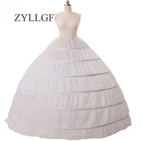 ZYLLGF Cheap Ball Gown 6 Hoops Petticoat Wedding Slip Crinoline Bridal Underskirt Slip 6 Hoop Skirt Crinoline For Quinceanera Dress