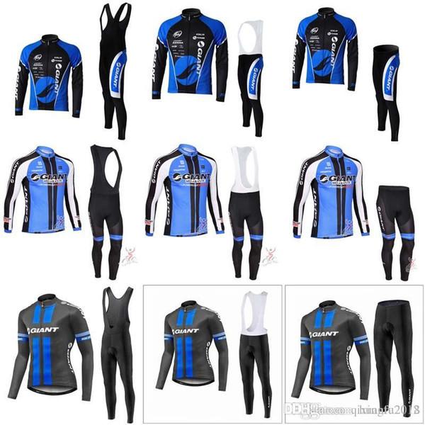 Nuovo 2019 GIANT Maglia da ciclismo Tuta da ciclismo Set di abbigliamento da ciclismo a manica lunga di alta qualità Set di abbigliamento da ciclismo per esterni C0912