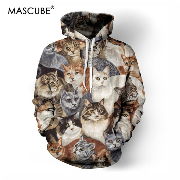 MASCUBE Nice Style Men/women Autumn Winter Thin Sweatshirt With Cap 3D Print Many Cats Hooded Hoodies 3D Hoody