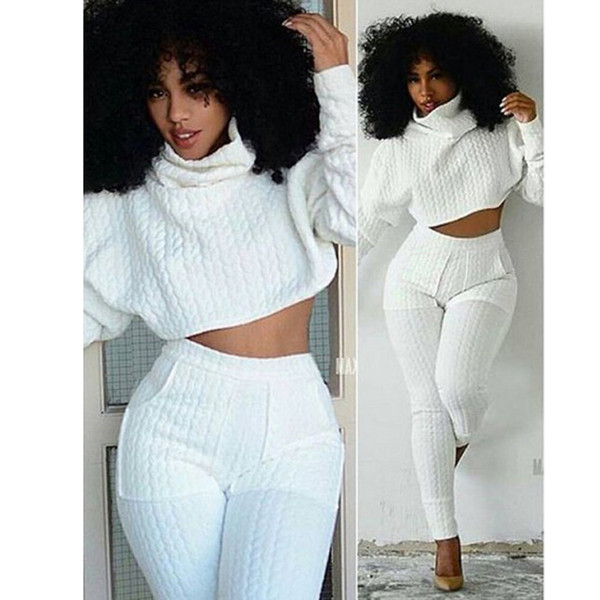 Women Two Pieces Set Knit Fitted Crop Tops Casual Suits 2 piece set for women top and pants Fashion Jogger Set Lounge S-XXL L18101001