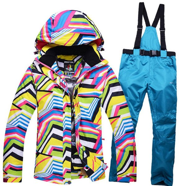new yellow winter clothing zebras ladies ski sets Snowboard suit windproof Warm Ski jacket + pants with suspenders Good quality