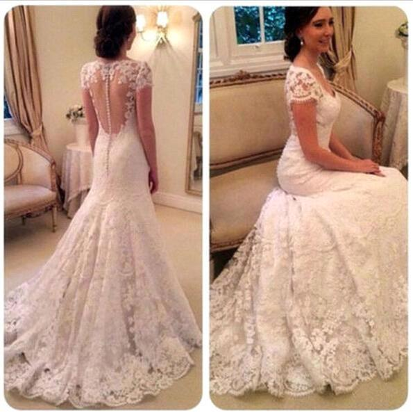 Elegant v neck full lace wedding dre e cap leeve romantic illu ion button back long mermaid bridal gown with weep train ba2090