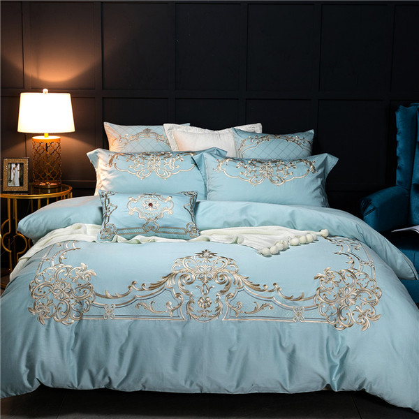 Blue Luxury European Style Royal Embroidery 60S Egyptian Cotton Bedding Set  Duvet Cover Bed Sheet Bed Linen Pillowcases 4/Duvet Covers For Sale Queen  ...