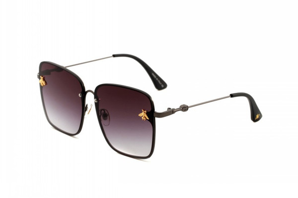 GGG2000 5 colors Women Square Large Metal Frame Sunglasses Women Brand Designer Little Bee Fashion Luxury Sun Glasses G Oculos