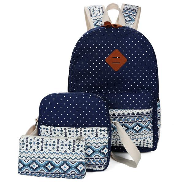 Children School Bags for Teenagers Girls Schoolbag Large Capacity Canvas Dot Printing Teenagers Backpack boy Bagpack BookBag Y18100705