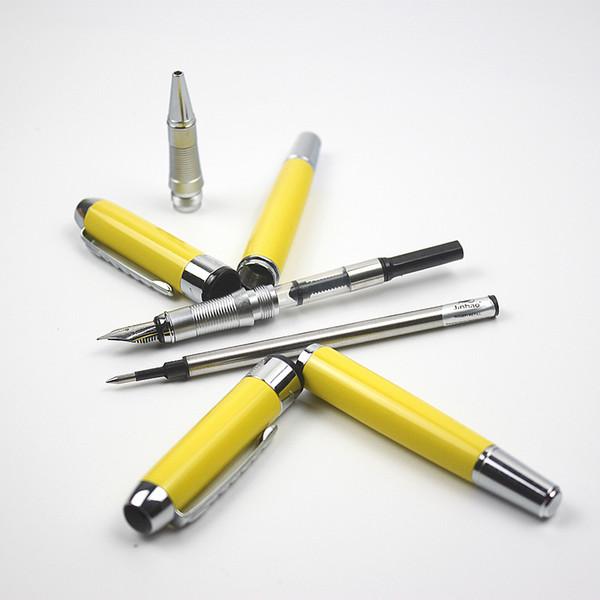 Lüks jinhao Sarı Metal Dolma Kalemler Tükenmez Kalemler Gümüş Klip Mavi Siyah mürekkep Ofis Iş Için Roller Topu Kalem