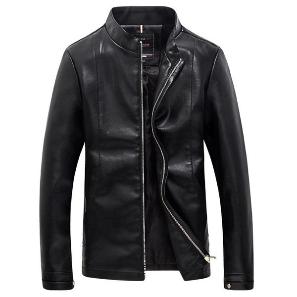 New Autumn Men's Motorcycle Jacket Fashion Slim Stand Collar Male Leather Coat High Quality Jaqueta De Couro Masculino M-5XL YH-035