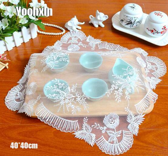 Modern white lace embroidery table place mat cloth pad dinner placemat Cup drink coffee coaster Dining mug doily Kitchen