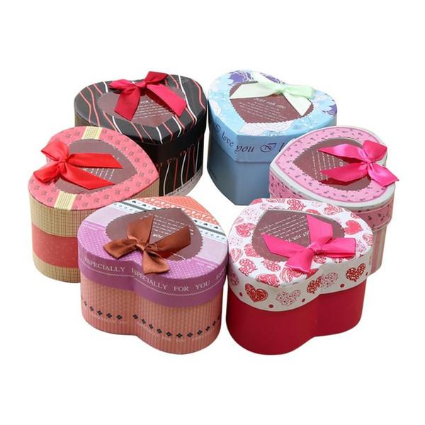 6pcs Christmas Eve Candy Box Lovely Heart Bowknot Pattern Snacks Chocolate Box Wedding Candy Box Wedding Favor