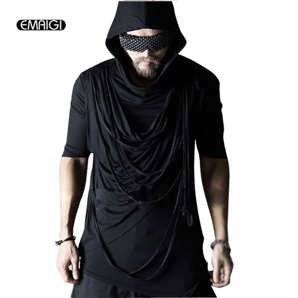 New Men Hooded T Shirts Punk Rock Stage Show Clothing Male Casual Half Sleeve Rope Tees Shirts Black Slim Tshirt