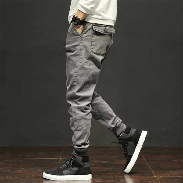Mens Pocket Loose Harem Jeans Men Hip Hop Casual Denim Pants Homme High Street Joggers Jeans Size 28-42 AA11424