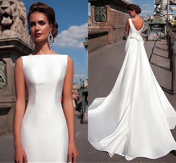 2019 Mermaid Wedding Dresses Satin Bateau Neck Sleeveless Fitted Long Sheath With Detachable Train Bow V Back Boat Plus Size Bride Gowns