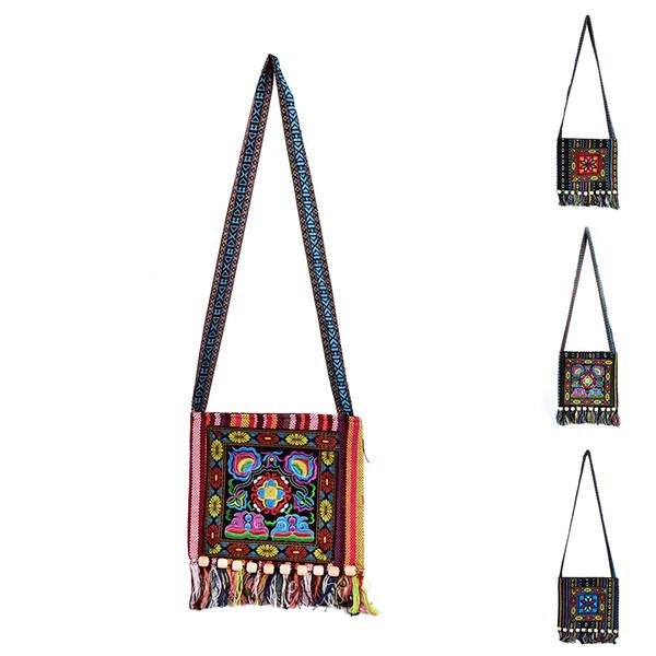 1963d5d2ec2c86 1PCS Chinese Women Hmong Thai Embroidered Handbag Messenger Tassels Bag Boho  Hippie Handbag