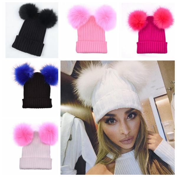 Women Adult Knitted Hats Two Raccoon Fur Balls Caps For women Winter adult Pom Pom Winter Wool Crochet Knit Hat KKA4062