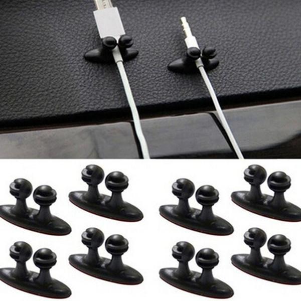 2018 New Hot 1 Set voiture chargeur ligne fermoir pince casque / câble USB Clip de voiture en plastique accessoires de voiture noir en gros