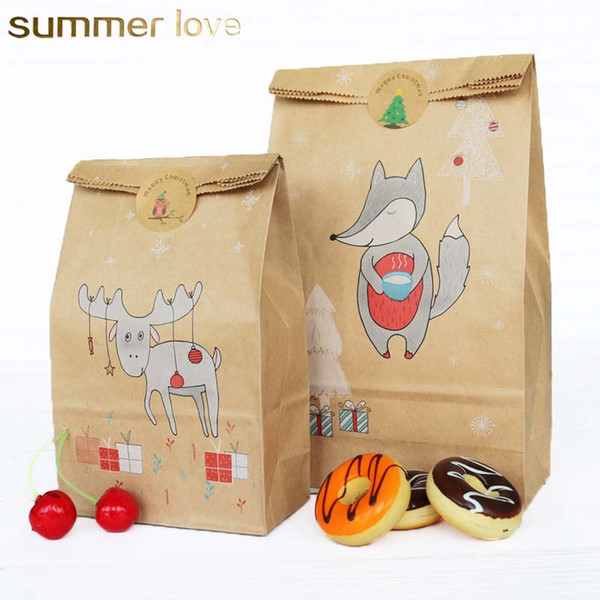 New kraft paper customizable candy baking cookies christmas paper bag with 12 sets christmas seal stickers handmade gift bag wholesale