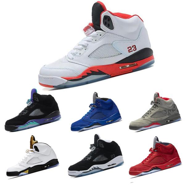 f4eb302b515aa1 2018 5 mans Basketball Shoes Olympic Metallic Gold Tongue 23 Fire Red black  Metallic Silver Oreo Grape Sneakers