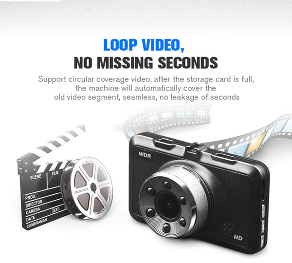 1080P car DVR full HD vehicle digital video recorder driving data camcorder 3 inches 140° wide view angle WDR G-sensor motion detection