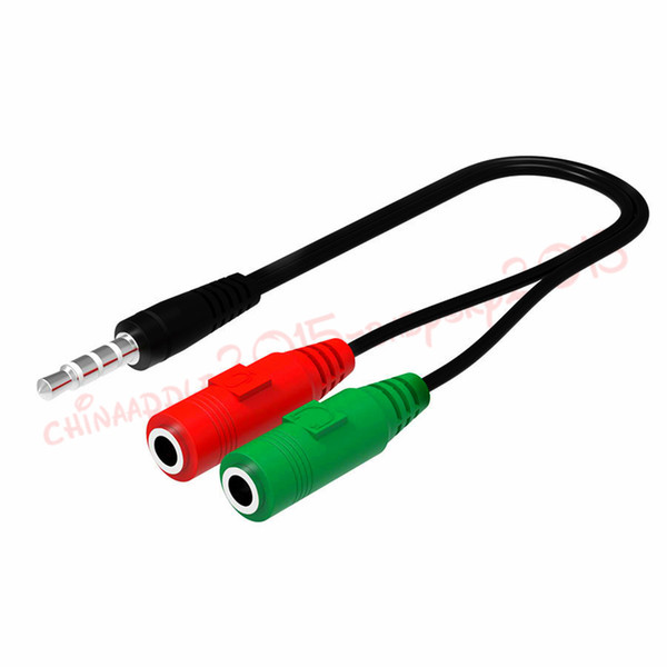 3.5mm Audio splitter male to 2 Female Y Splitter Stereo Audio Cable With Mic Adapter For iphone smart phone pc tablet