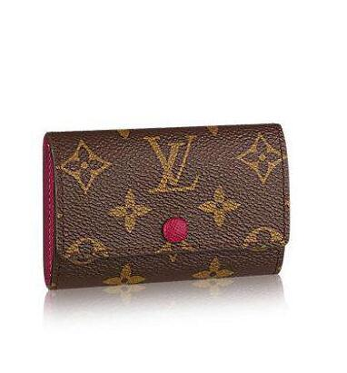 Old flower canvas 6 key bag M60701 WALLETS OXIDIZED LEATHER CLUTCHES EVENING LONG CHAIN WALLETS COMPACT PURSE