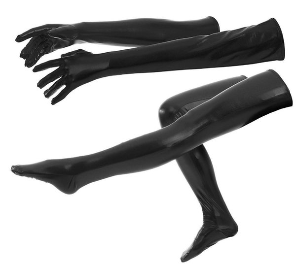 Adult Unisex Long Shiny Metallic Gloves and Tights High Stockings Halloween Cosplay Accessory