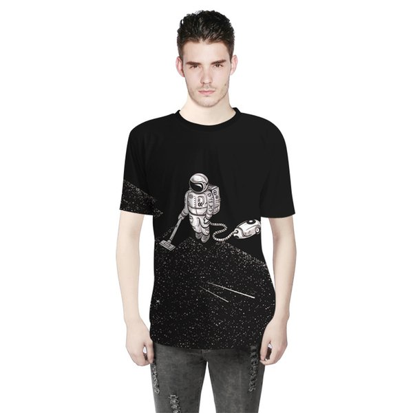 2018 Summer Fashion Men Jacket Astronaut Weeding 3D Digital Print T-shirt Short Sleeved Men Sports Bottoming Shirts A0305