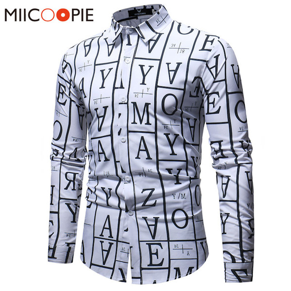 Men Plaid Shirts Business Casual Shirts ale Solid Plaid Letter Printed Famous Brand Clothing Long Sleeve Camisa Masculina XXXL