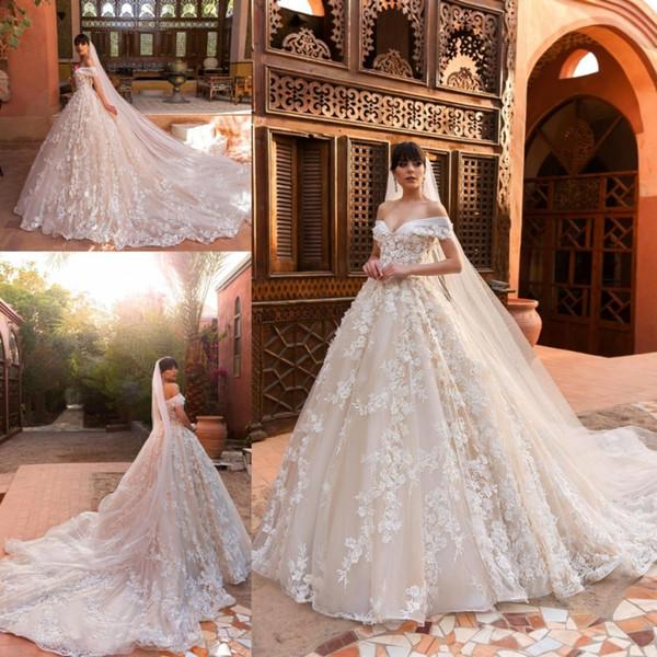 2019 Designer Brautkleider aus der Schulter Full 3D Blumen Gericht Zug nach Maß Brautkleider BC0036