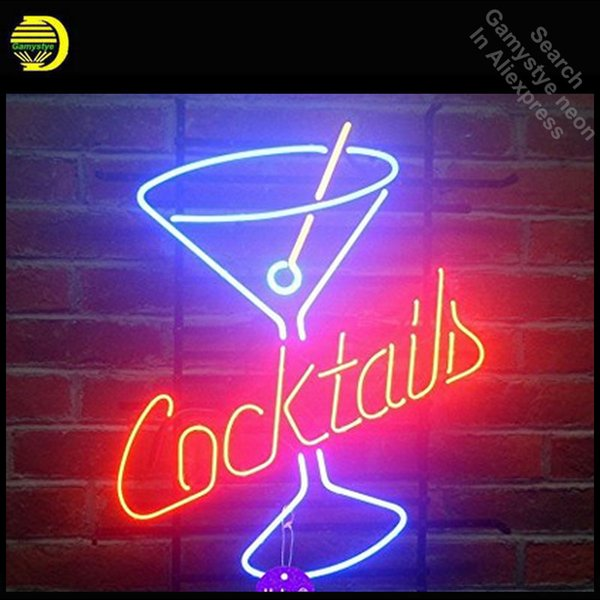 Cocktails Martini Neon Sign Cup neon bulb Sign Glass Tube lights Recreation Beer Iconic Advertise Windows Garage Wall