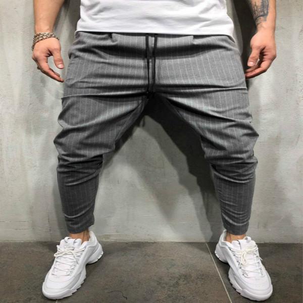 Pantaloni 2018 Brand New Mens Skinny Slim Fit inferiore a righe pantaloni casual alti con tasche pantaloni allenamento Hip Hop pista