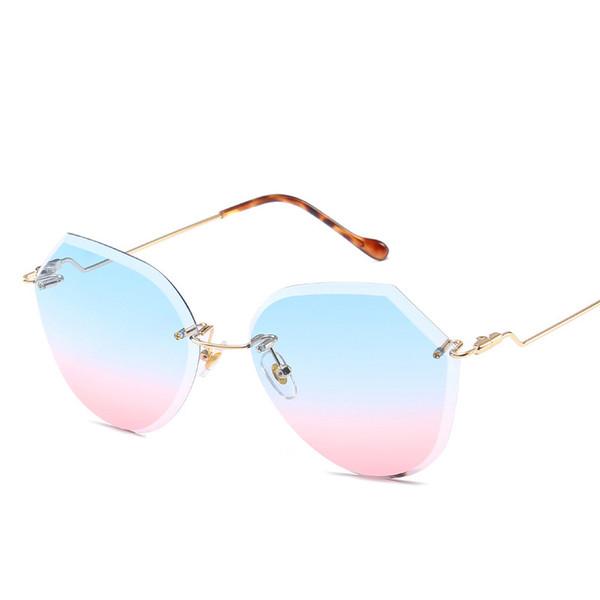 Rimless Sunglasses Women 2018 New Designer Gradient Mirror Sun Glasses Tinted Color Eyewear Female Transparent Oculos